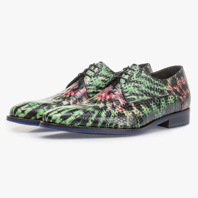 Premium green and pink leather lace shoe