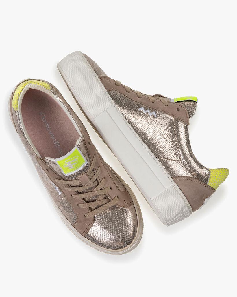 Sneaker Metallic-Print taupe