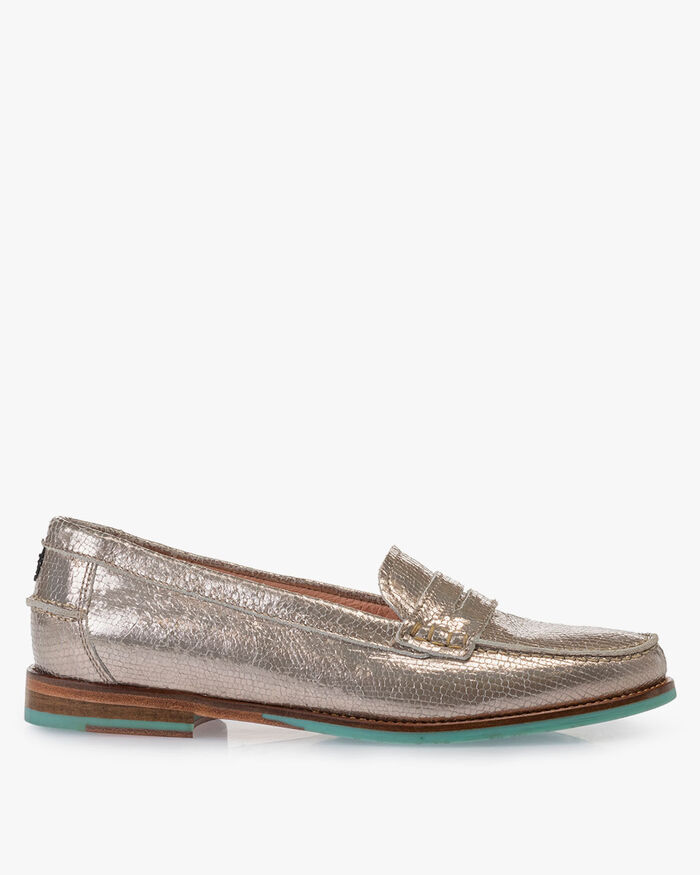 Loafer metallic taupefarben