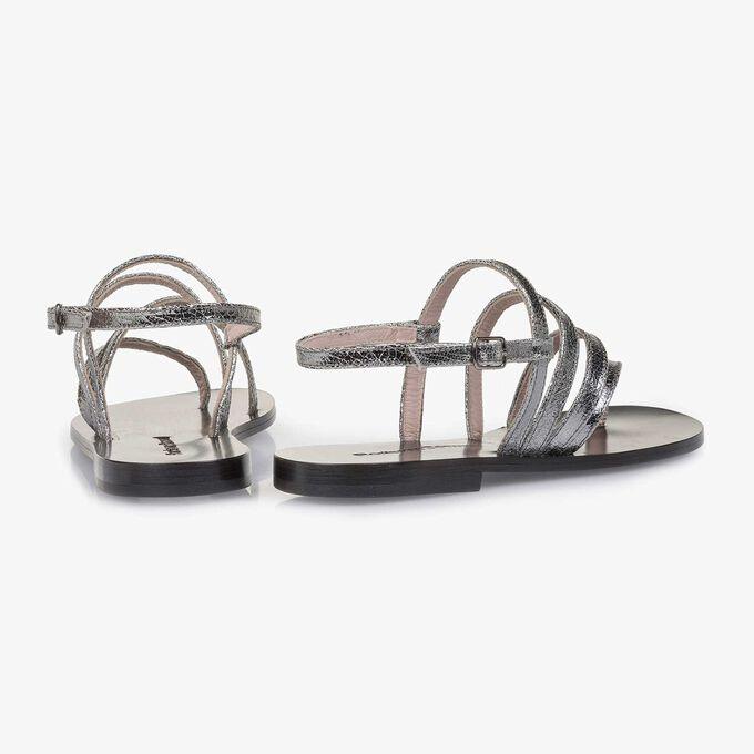 Silber Metallic Leder-Sandale mit Craquelé-Effekt