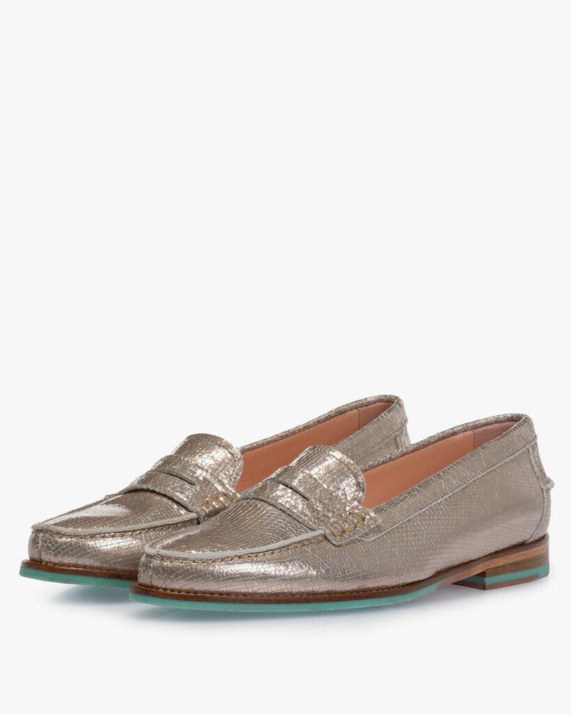 Loafer metallic taupefarben
