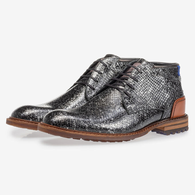 Crepi Stiefel metallic schwarz