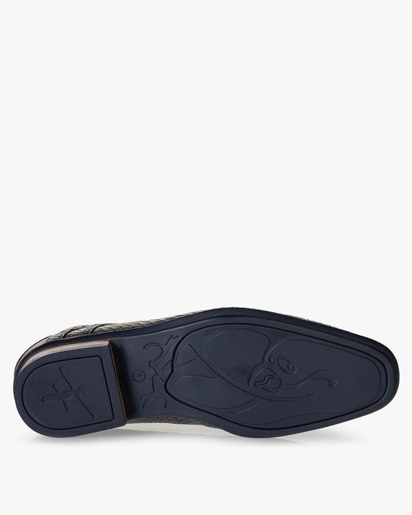 Lace boot metallic blue