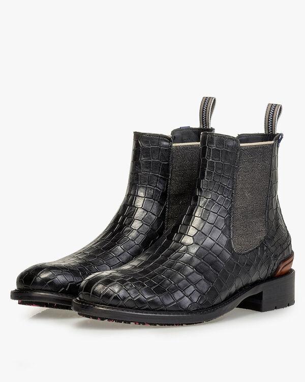 Chelsea boot reptile print black