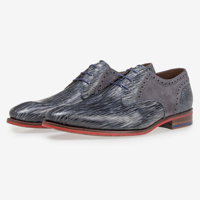 Grey and blue lace shoe with print
