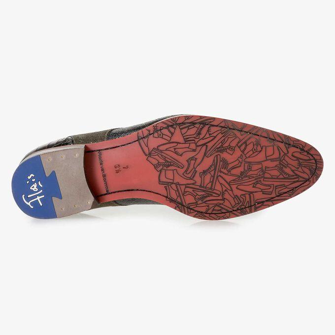 Dunkelgrüner Leder-Schnürschuh mit Metallic-Print