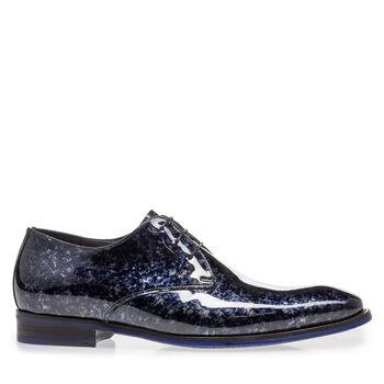 Lace shoe blue patent leather
