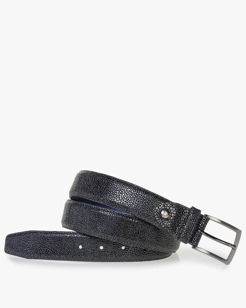 Blue leather belt with metallic print