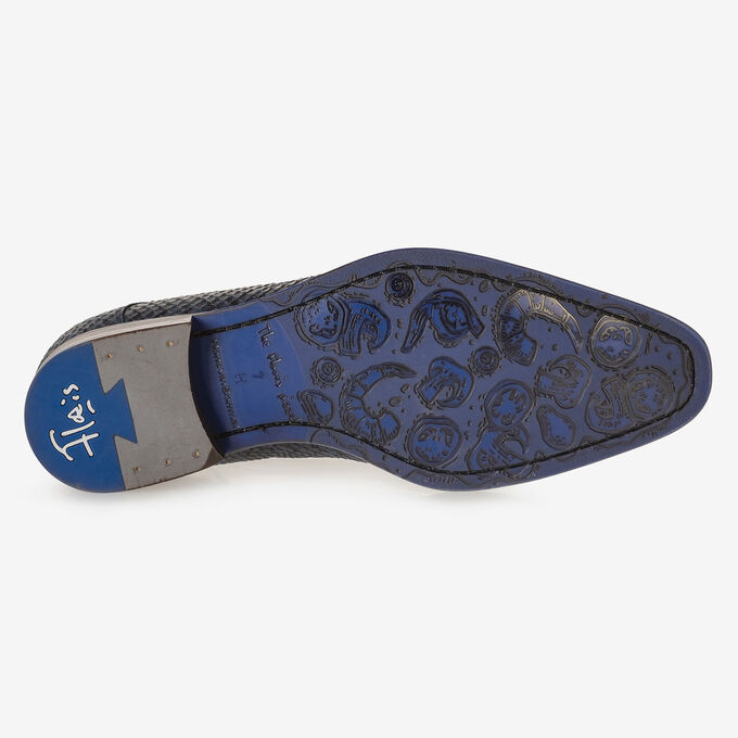 Schnürschuh blau Nubukleder