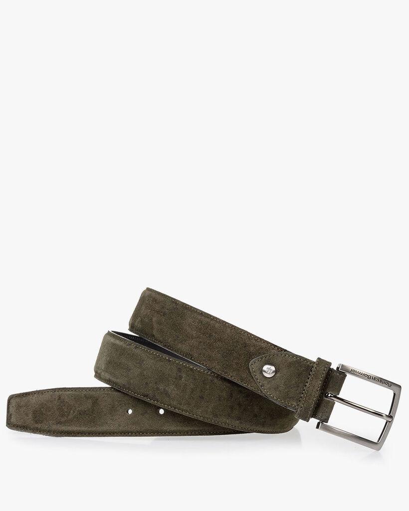 Suede leather belt green black