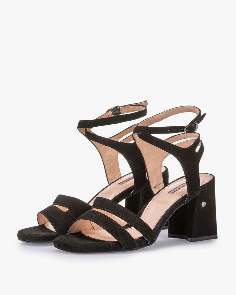 Black high-heeled suede leather sandals