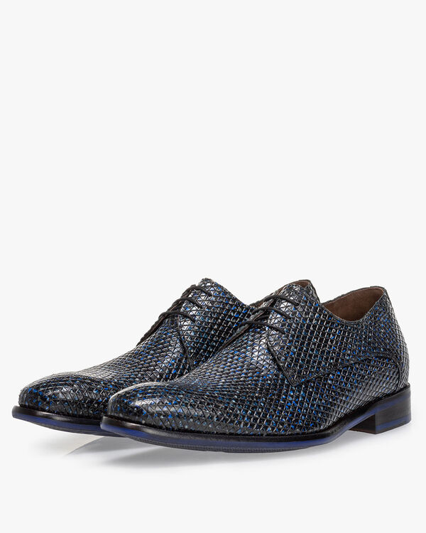 Lace shoe printed leather dark blue