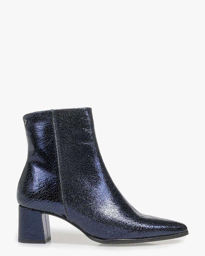 Dark blue ankle boots metallic print