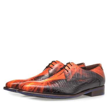 Premium printed leather lace shoe