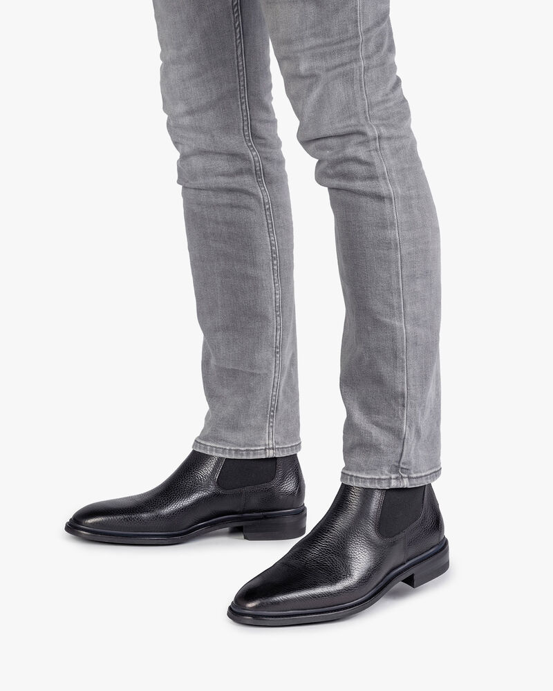 Black calf leather Chelsea boot with print