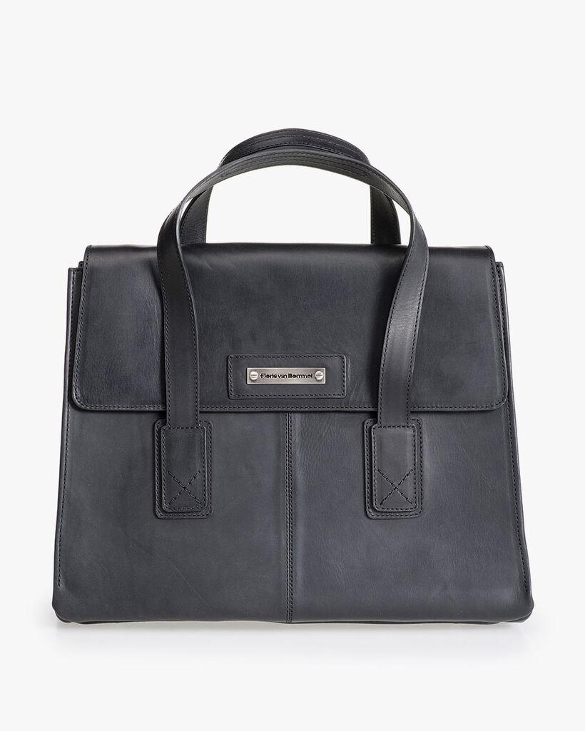 Schwarze Leder-Business-Tasche