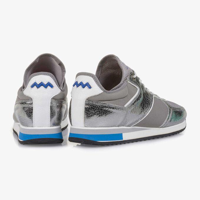 Dunkelsilberner Metallic Leder-Sneaker