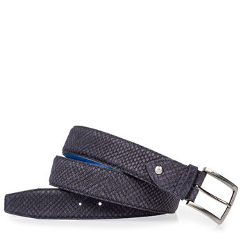 Suede leather belt blue with black print