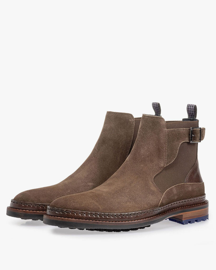 Chelsea boot suede leather dark taupe