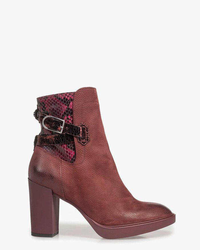 Red nubuck leather ankle boots