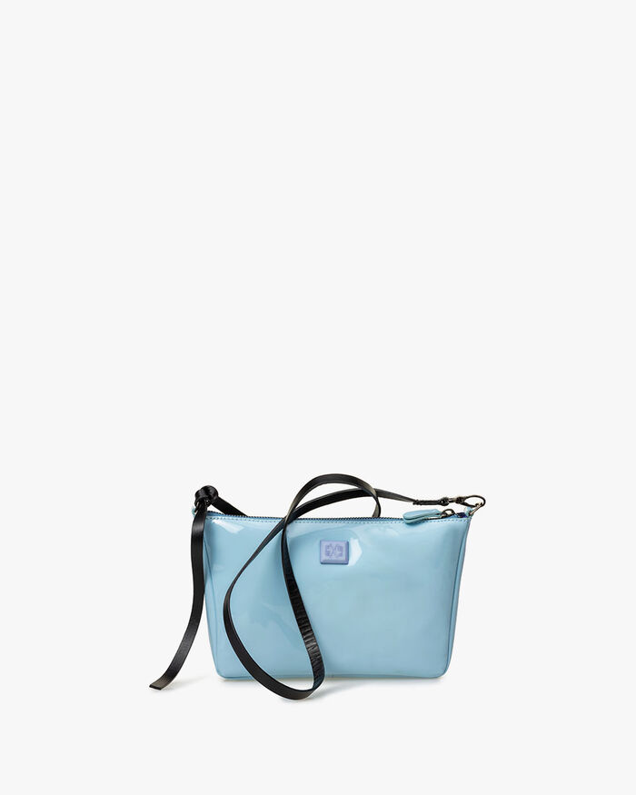 Cross body bag patent leather light blue