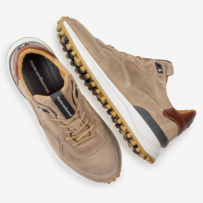 Beige suede leather sneaker