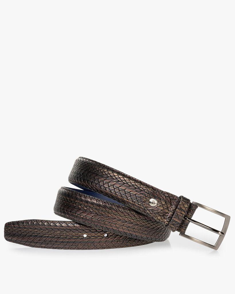 Belt metallic print brown