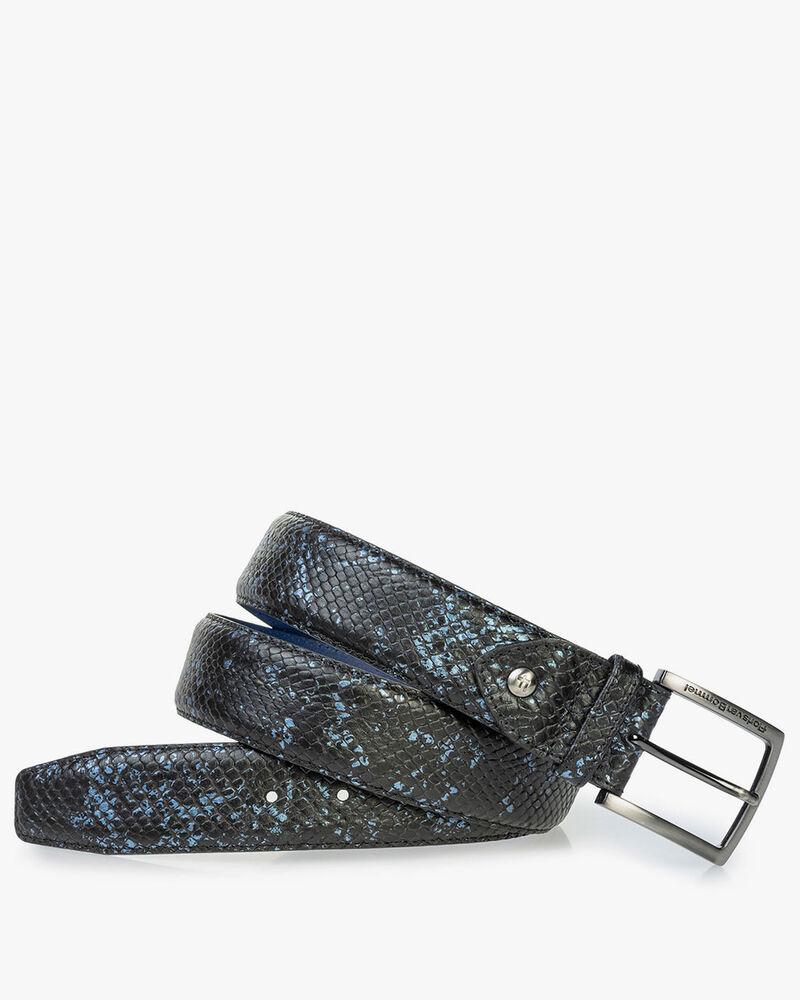 Ledergürtel mit Metallic-Print blau