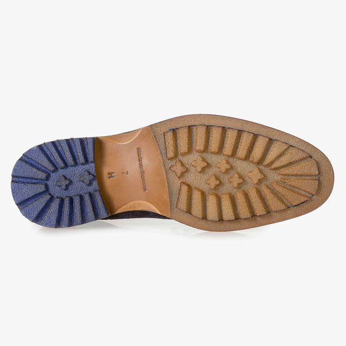 Dunkelblauer Wildleder-Schnürstiefel mit Print