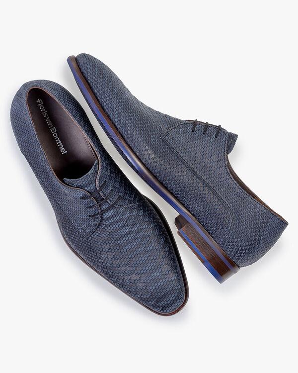 Lace shoe nubuck leather dark blue