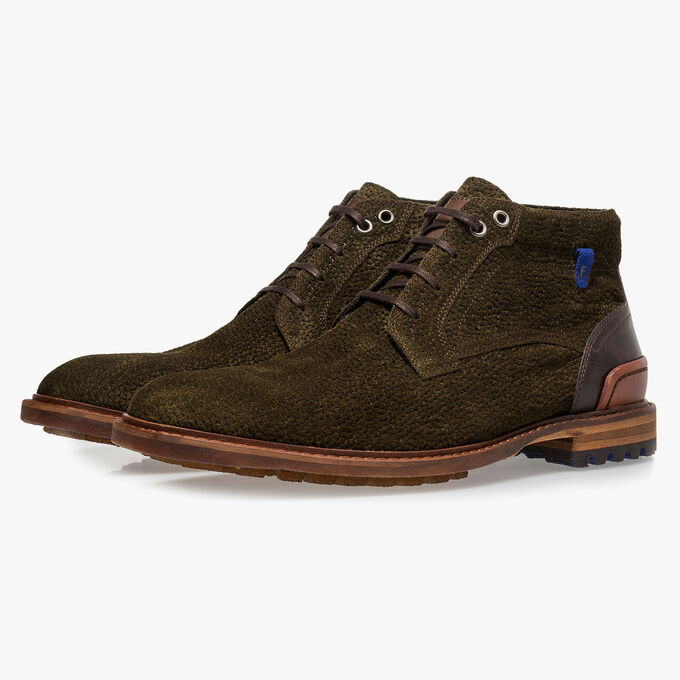 Olive green printed suede leather lace boot