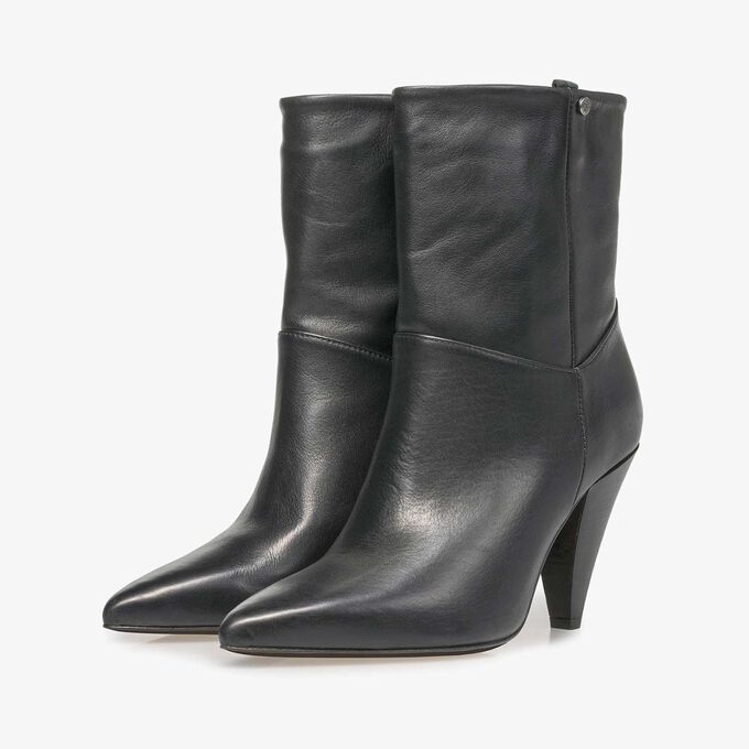 Black nappa leather high boots