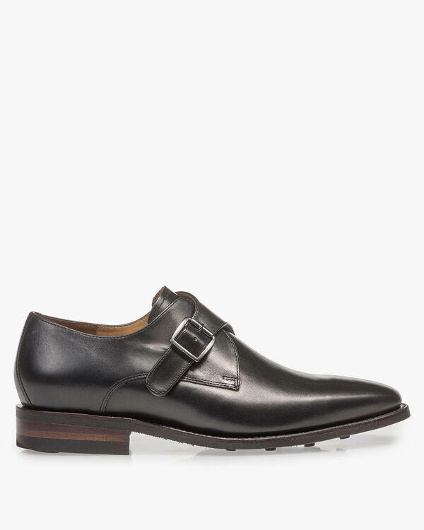 Black calf leather monk strap