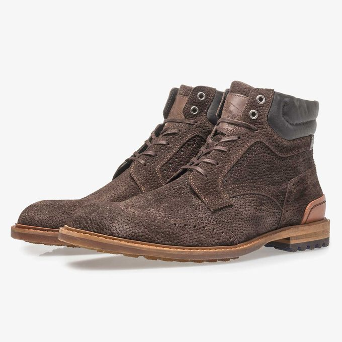 Dark brown suede lace boot with print