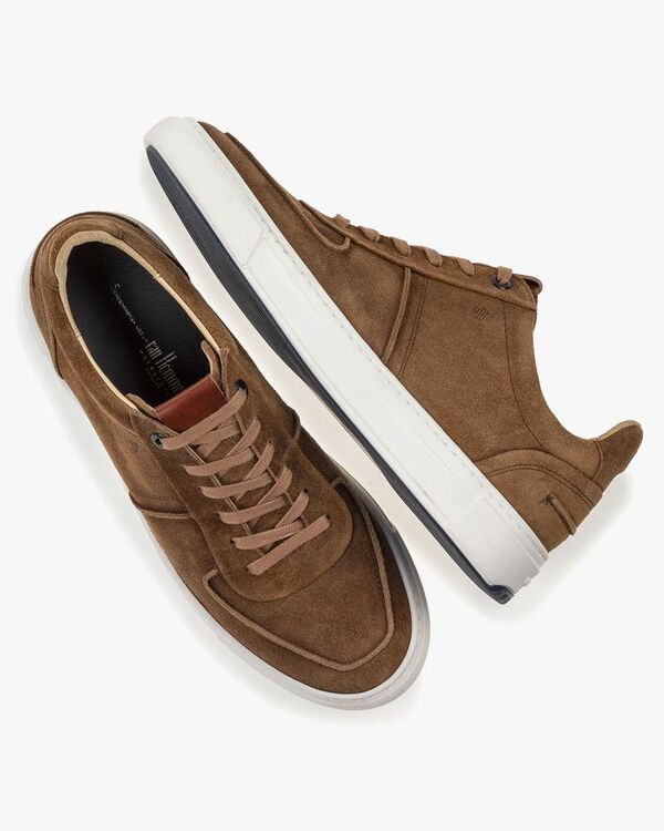 Sneaker cognac-coloured suede leather