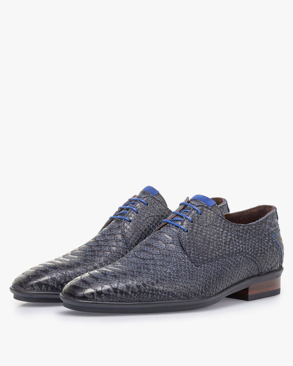 Dark blue nubuck leather lace shoe with snake print