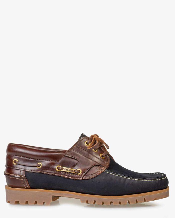 Boat shoe nubuck leather blue