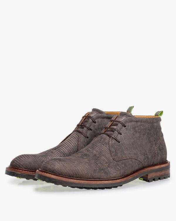 Lace boot lizard print grey
