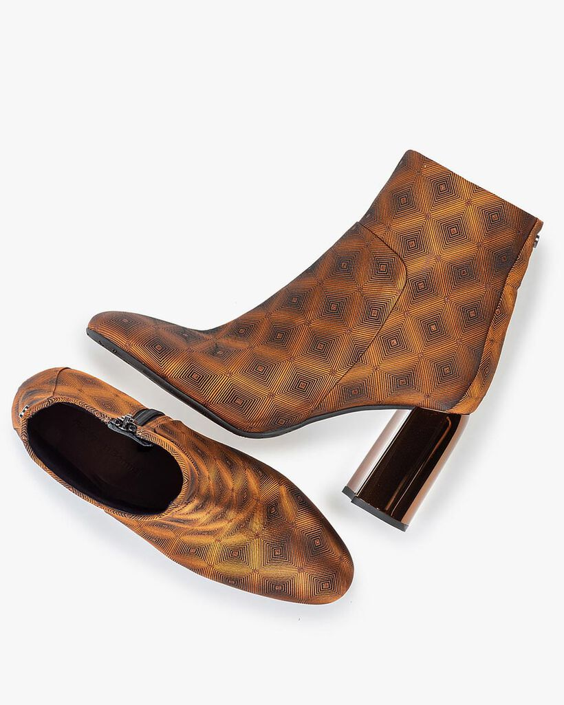 Ankle boot textile with print brown