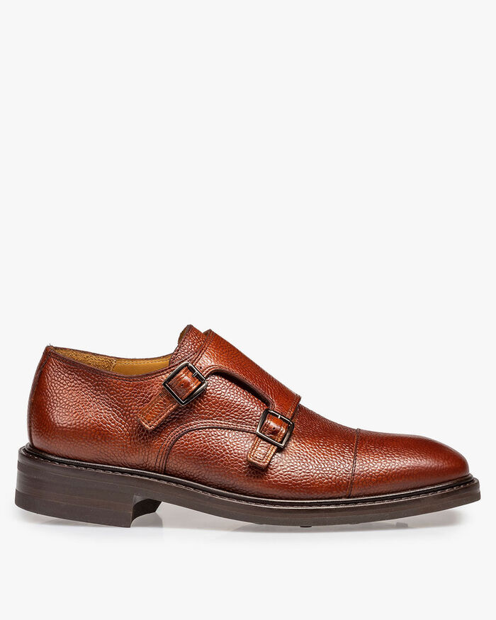 Cognac-coloured calf leather double monk