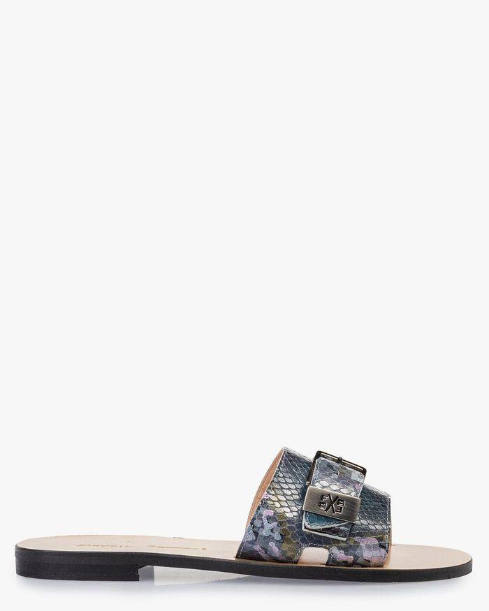 Slipper Leder mit Print blau