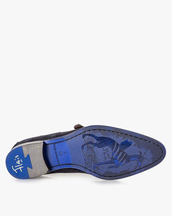 Schnallenschuh blau Wildleder