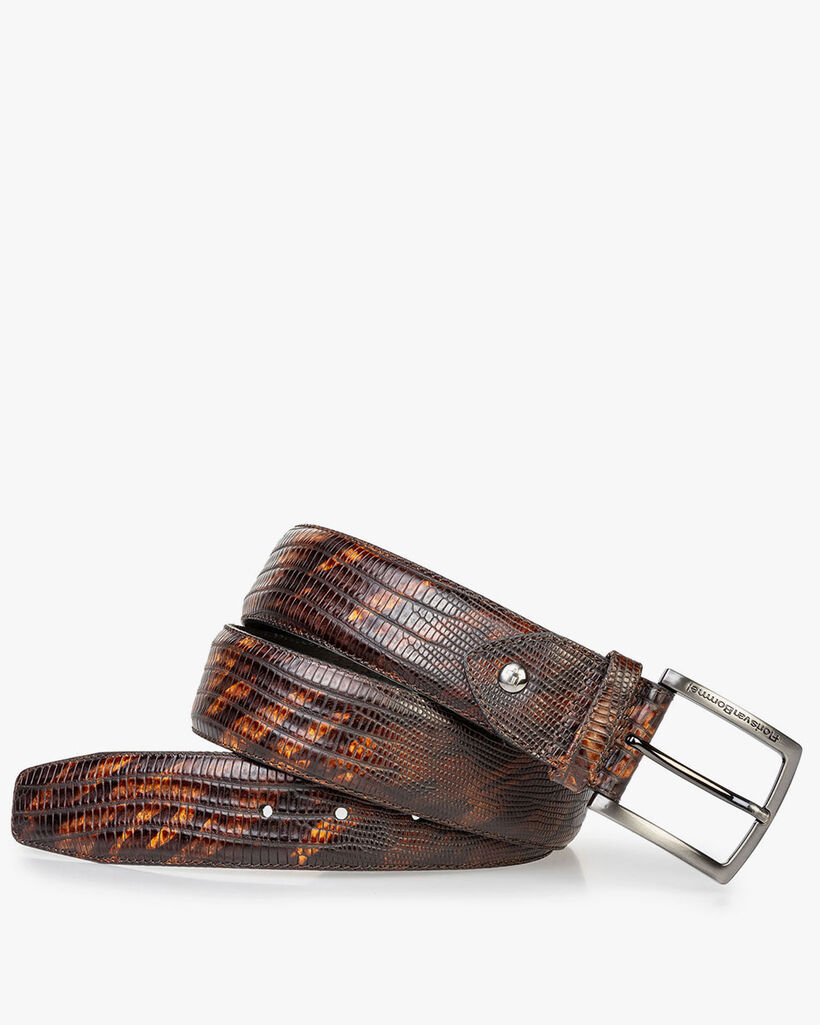 Leather belt lizard print dark cognac