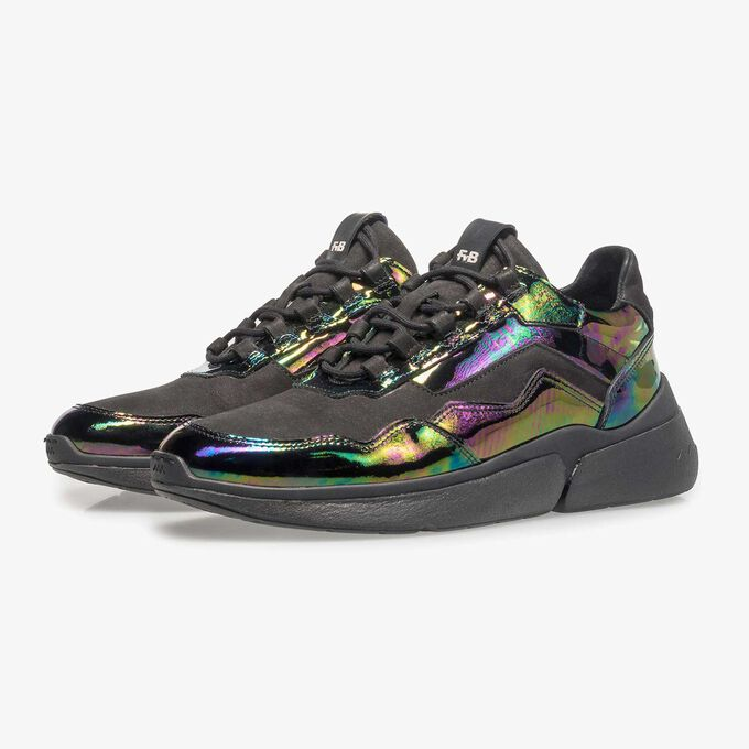 Mehrfarbiger Lackleder-Sneaker