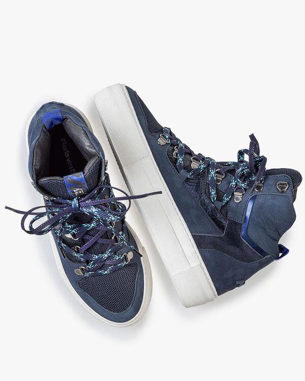 Halbhoher Sneaker Nubukleder blau