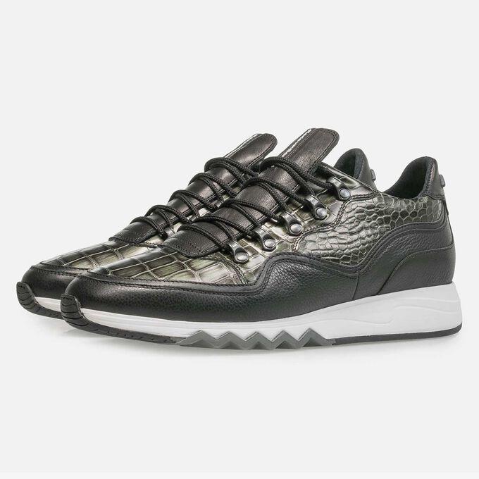 Grüner Premium Metallic-Leder-Sneaker mit Print