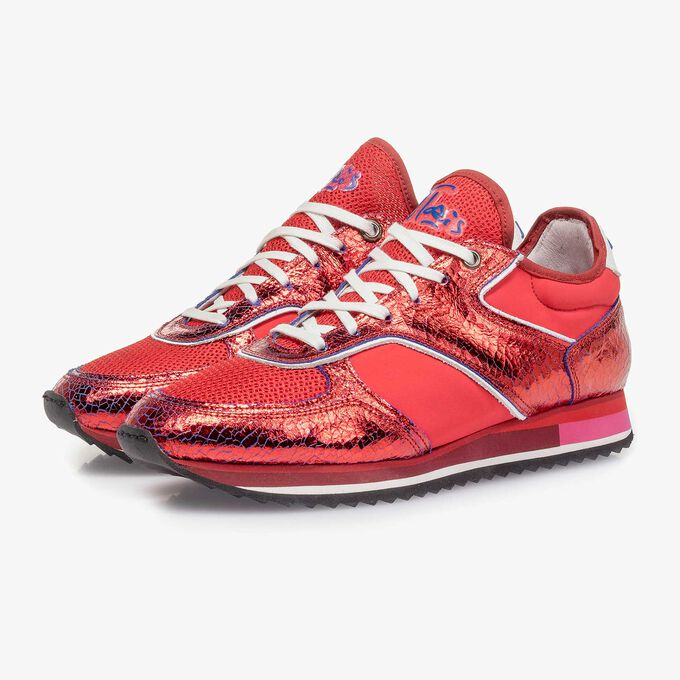 Red metallic leather sneaker with changing effect