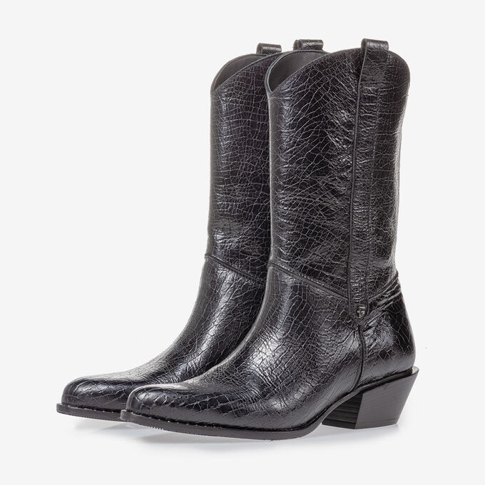 Western boot black leather craquelé