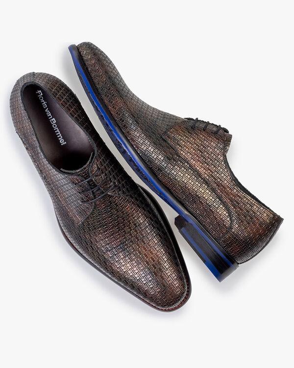 Lace shoe metallic print bronze