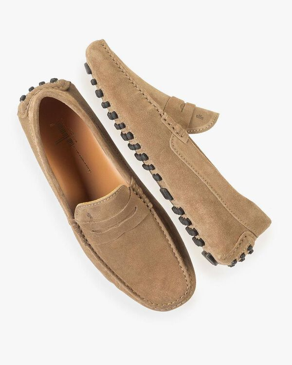 Taupe-coloured suede leather moccasin